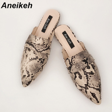 Aneikeh NEW 2019 PU Flats Women Pointed Toe Slip-on Fashion Elegant Casual Serpentine Slingback Women's Shoes Black Size 35-40