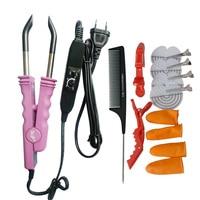 Professional PINK BLACK Teflon Plate Heat Fusion Connector Hair Extension Iron Keratin Bonding Salon Tool Heat