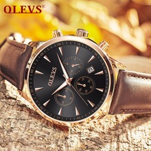 OLEVS Luminous Hands Mens Wrist Watch with Brown Leather Bracelet Date Display Chronograph Waterproof Male Clock Watches For Men olevs charm men business watches luminous hands clock watch day and date stainless steel bracelet waterproof wristwatch for man