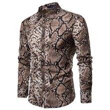 2019 Spring Autumn Dress Shirt Fashion Mens Snakeskin Shirt