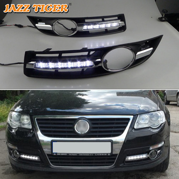 JAZZ TIGER Super Brightness Car DRL Lamp 12V Waterproof ABS LED Daytime Running Light For Volkswagen Passat B6 2007 2008 2009