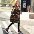 plus size 2016 New army green Camouflage winter jacket women thick parkas big natural real fur collar coat hooded down Coat