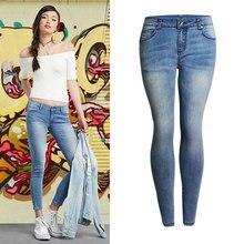 Женщины Узкие Джинсы Новый Обвал Моды Карандаш Брюки Отбеленные Синий Плюс Размер Джинсовые брюки джинсы