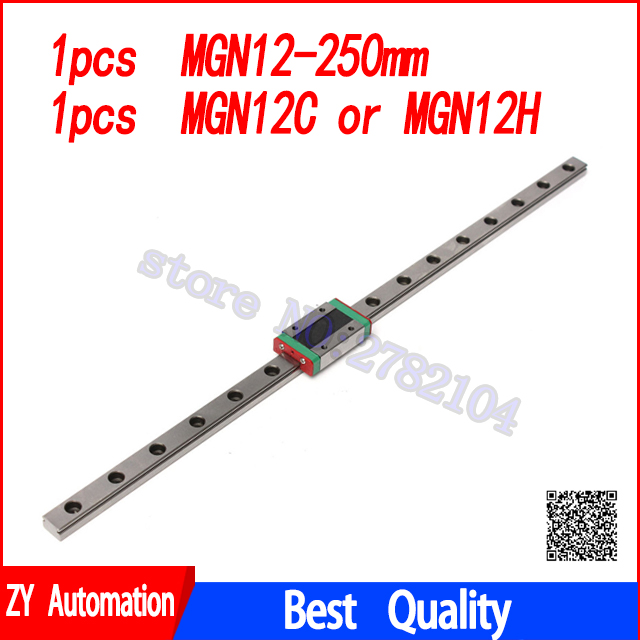Guia Linear MGN12 Kossel para 12mm 250mm linear trilho + MGN12C transporte linear Longa para CNC XYZ Axis 3 Dprinter parte