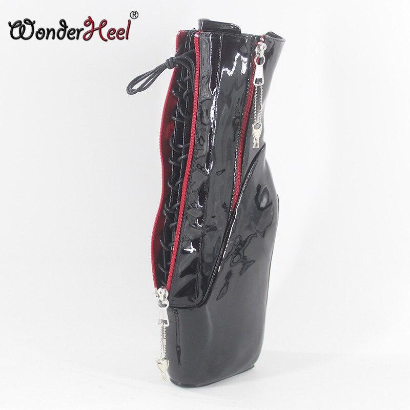 Wonderheel new super high heel 7 wedges heel double locked zipper black patent sexy fetish inner