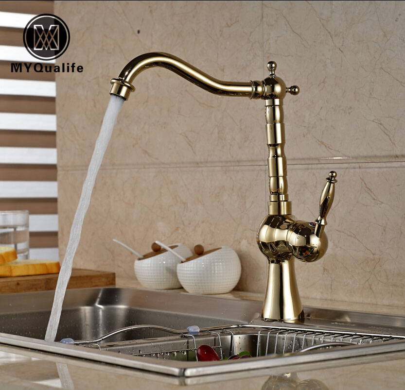 Modern Tall Swivel Rotation Kitchen Water Taps Single Lever Brass Golden Kitchen Mixer Faucet kitavawd31eccox70427 value kit avanti tabletop thermoelectric water cooler avawd31ec and glad forceflex tall kitchen drawstring bags cox70427
