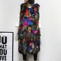 Wome's real fox fur vest colorful genuine fox fur gilet 100cm length winter warm waistcoat