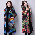 Autumn And Winter Printed Cap Long Big Yards Long Sleeve Cotton-padded Clothes Women's Plus Size Trench Coat
