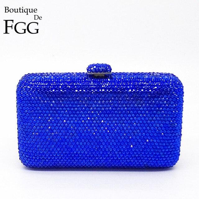 bfe315db6b Boutique De FGG Royal Blue Bling del Diamante di Cristallo Frizioni Borse  Per Le Donne Cocktail