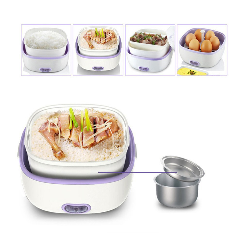 2018 New Multifunctional Electric Lunch Box Mini Rice Cooker Portable Food Heating Steamer Heat Preservation Lunch Box EU Plug bear dfh s2516 electric box insulation heating lunch box cooking lunch boxes hot meal ceramic gall stainless steel
