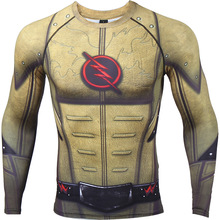 Cosplay traje reverso Flash 3D impreso camisetas hombres Raglan camisa de manga larga compresión ropa de Fitness hombre Tops Halloween