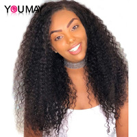 Kinky Curly Wig 13x4 Lace Front Human Lace Wigs For Women With Baby Hair Pre Plucked 130% You May Remy Indian Human Hair Wigs