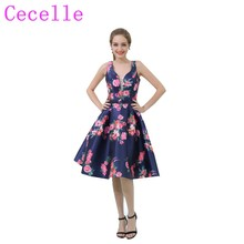 2019 New Navy Blue Short Floral Print Cocktail Dresses V Neck Knee Length  Beaded Waist Fashion 37d07807fb26