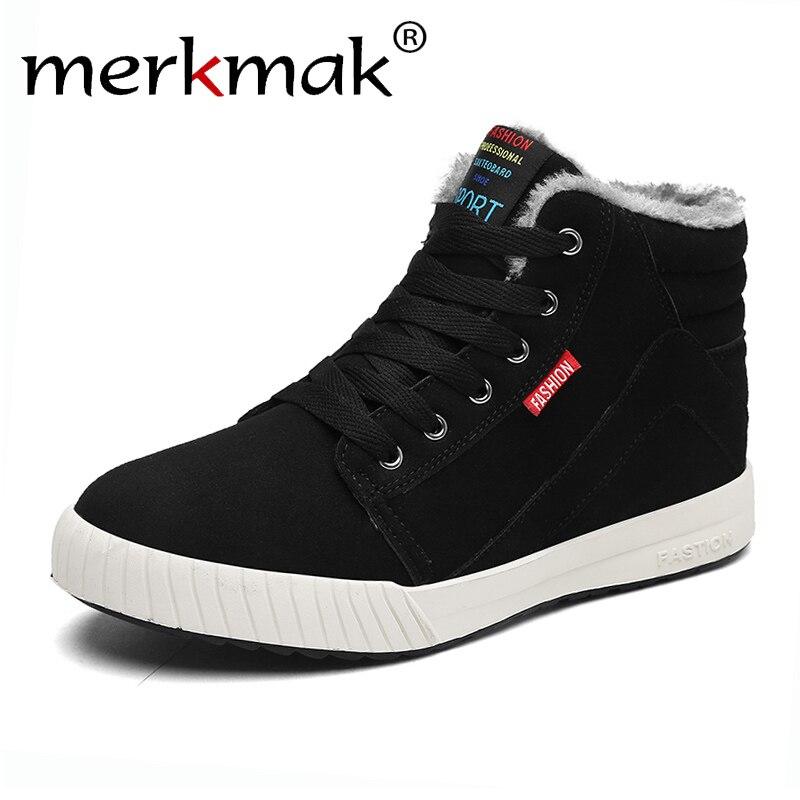 Merkmak New Winter Men's Boots Warm Wool Men Sneakers Outdoor WaterProof Male Shoes Ticken Plus Warm Footwear For Men 2018 Hot