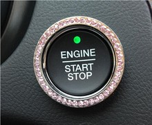 Universal Auto Engine Start Stop diamond key ring luxury crystal starter ignition switch decoration sticker for most car