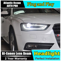 New head lamp Car Styling for Audi A4 Headlights High Configuration A4 B9 LED DRL Lens Double Beam HID KIT Xenon bi xenon lens