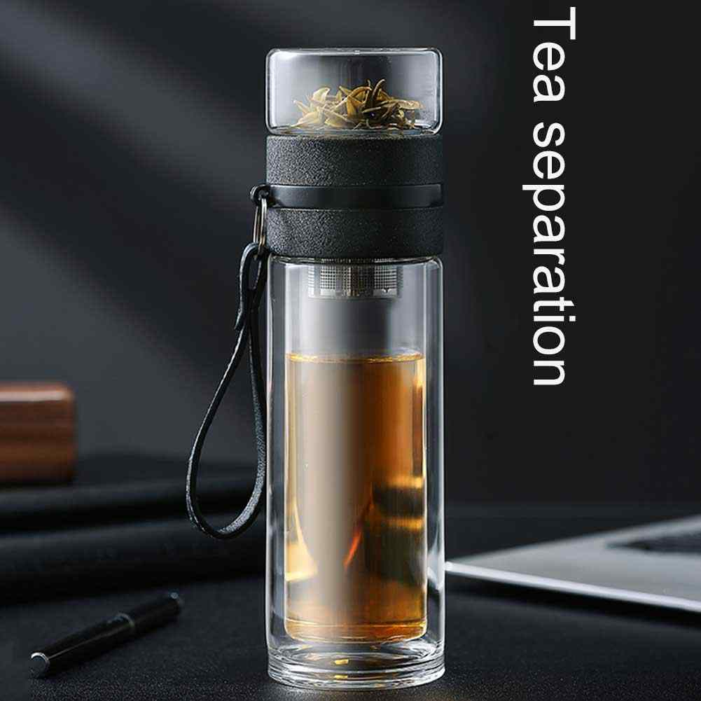 Transparent Glass Tea Cup Portable Water Tea Bottle with Separate Cup High temperature creative water cup H99F