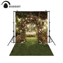 Allenjoy wiosenny kwiat drzwi w kształcie łuku tło ogród ślub natura nocna sceneria portret tło fotografia Photocall tkanina