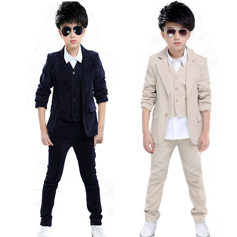 Gentleman Formal Children Wedding Suit for Boys Clothes Sets Spring Autumn Plaid Kids Teens Clothing Coat+Vest+Pants 3Pcs