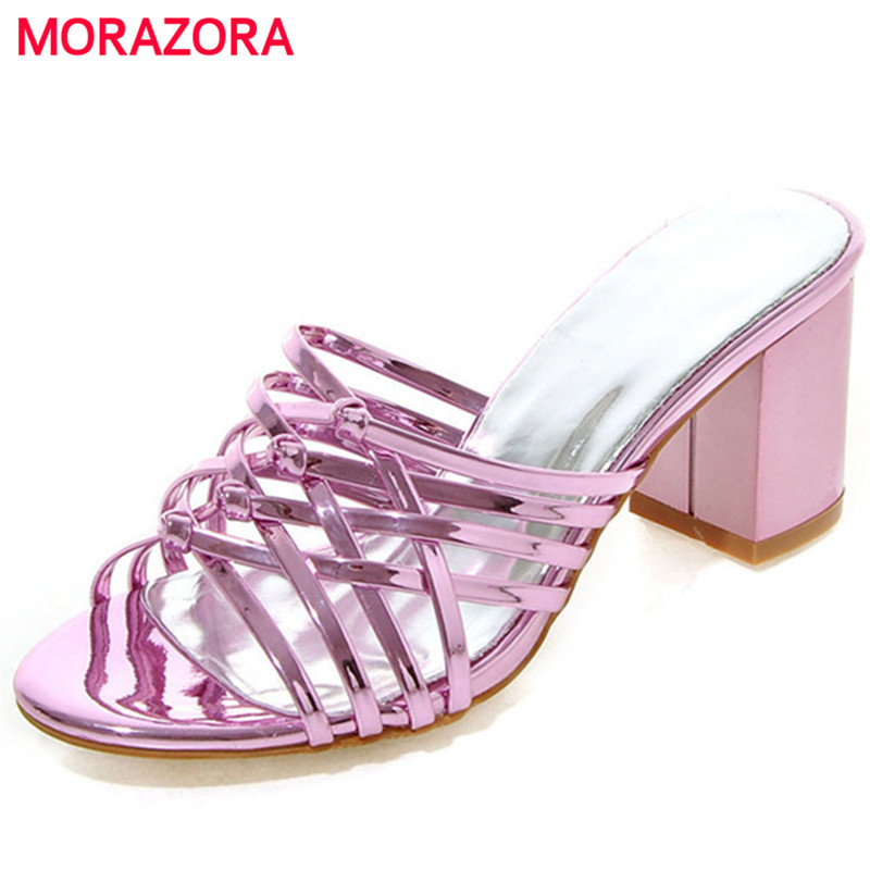 MORAZORA Sandals shoes woman in summer high heels shoes sexy lady contracted PU party three colors big size shoes 34-45 morazora slingbackds shoes woman in summer women pumps high heels shoes fashion sexy lady platform shoes party big size 34 43