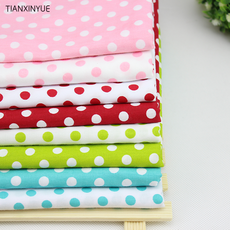 100% Cotton Fabric for Sewing Patchwork Quilting Tissue Kids 8 pcs Dot  Bedding Fabric Tilda Doll Cloth 40* 50 cm pillow Fabric