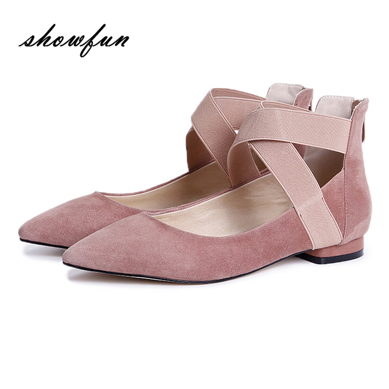 Women's Genuine Suede Leather Elastic Back Zip Ballerinas Brand Designer Pointed Toe Leisure Ballet Flats Moccasins Shoes Women spring summer ladies ballerinas dolly shoes pointed toe pu leather women ballet flats plus size female moccasins womens loafers