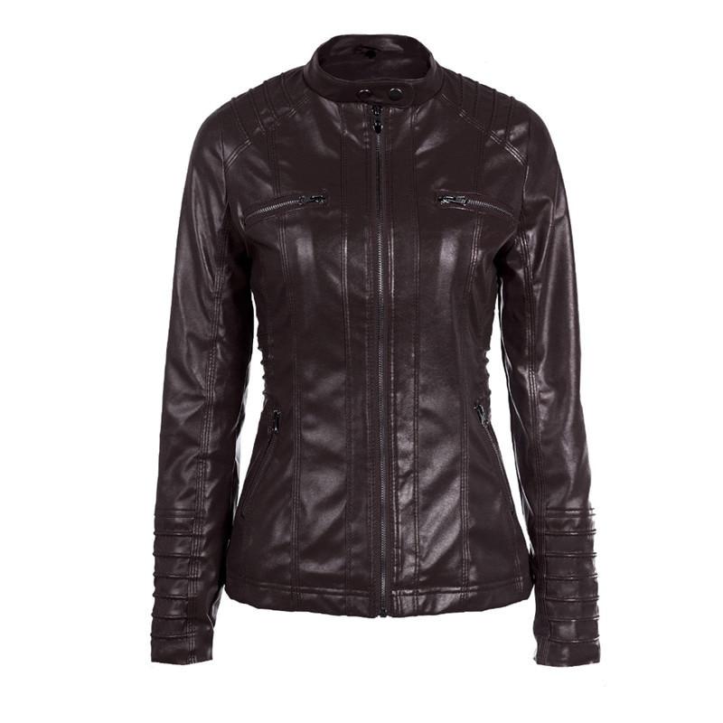 463ce6c5bd3 Hancuinu Plus Size Leather Jacket Women 2018 Autumn Winter Outerwear Coat  Lady PU Leather Clothing Female Motorcycle Jackets