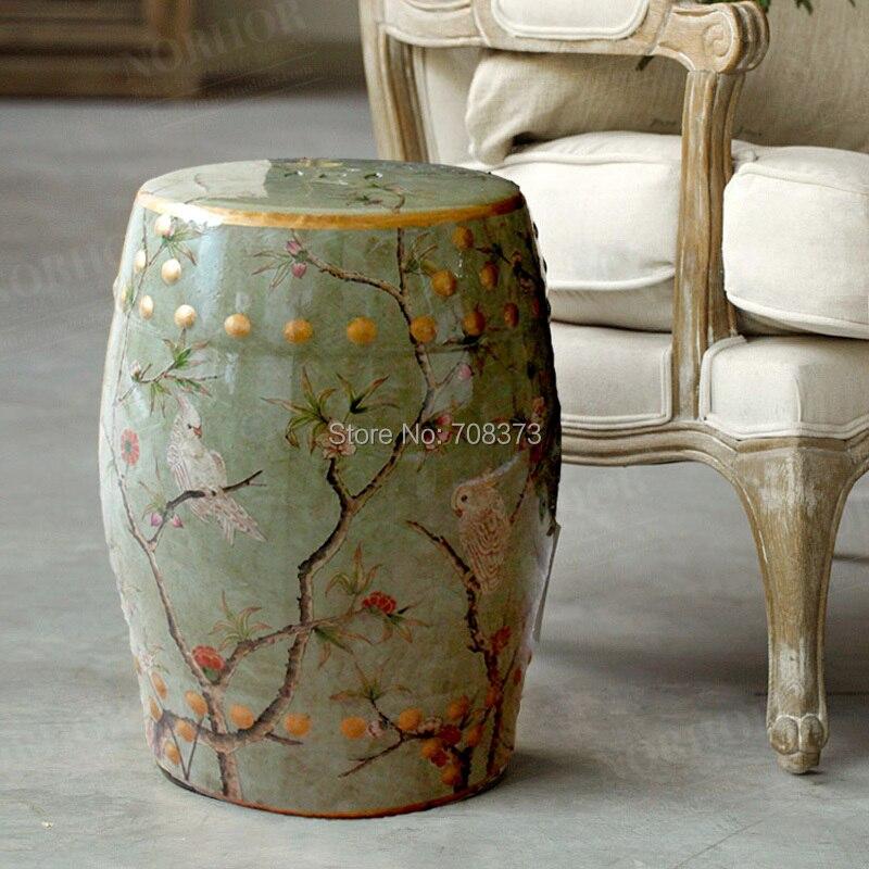 Tabouret en céramique moderne chinois grand perroquet pour accessoires de meubles de jardin et de maison