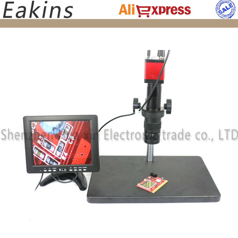 13MP HDMI VGA Industry Digital  Microscope Camera CCD +Big Stand +180X C-MOUNT Lens+56 LED Ring Light+8 HDMI LCD Color Monitor
