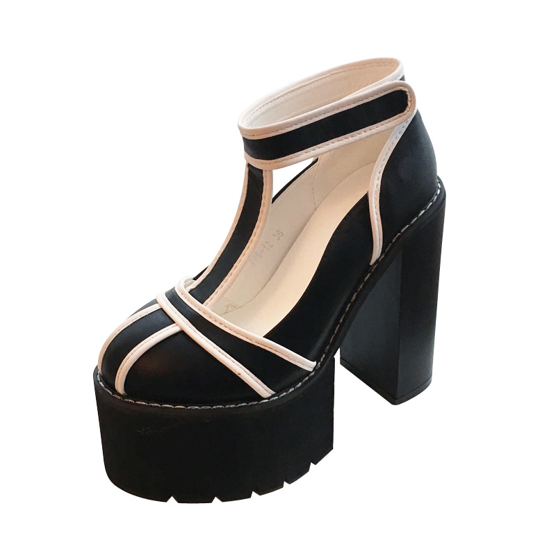 Ladies Platform Shoes Black/White High Heels Punk Women Ankle Boots Casual High Heel Shoes autumn Rock Thick Heel Shoes new casual high heeled shoes sexy ruslana thick heels platform pumps women pump thick heel platform shoes black white shoes size
