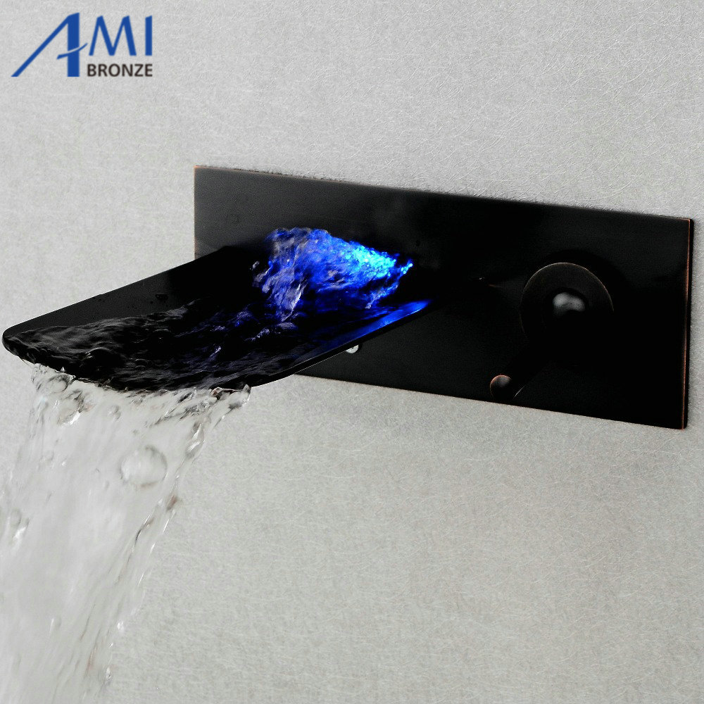 LED  wall mounted glass waterfall brass Faucet Bathroom sink basin mixer tap free shipping polished chrome finish new wall mounted waterfall bathroom bathtub handheld shower tap mixer faucet yt 5333