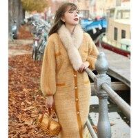 Линетт's CHINOISERIE на весну и зиму Оригинальный дизайн для женщин Свободные имбирный желтый Длинные норки кашемировый вязаный свитеры для ж