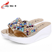 Platform Slippers Colorful Diamond Cool font b Women b font Shoes Summer Platform Wedges Shoes Chaussure