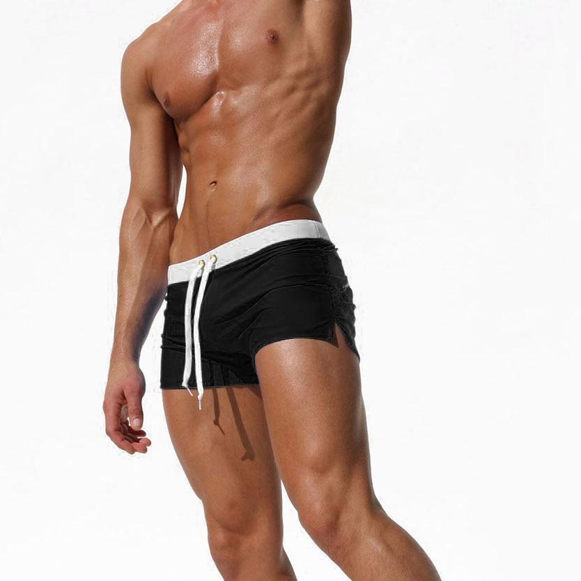 black-Swimwear Men Boxer Shorts Swim Trunks Swimming Surf
