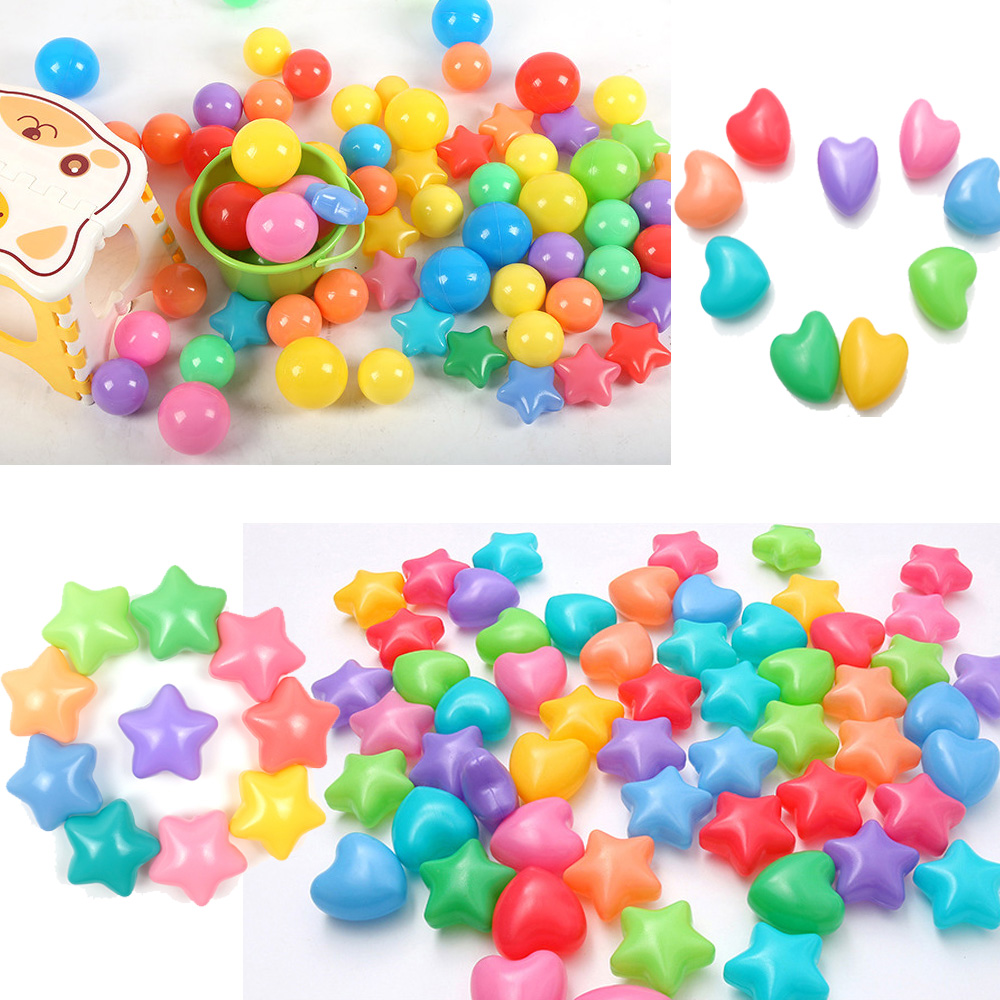 50/100pcs/lot Safety Soft Star Heart Shaped Plastic Ocean Balls Stress Air Play Ball Pit Balls For The Pool Funny Sports Toys
