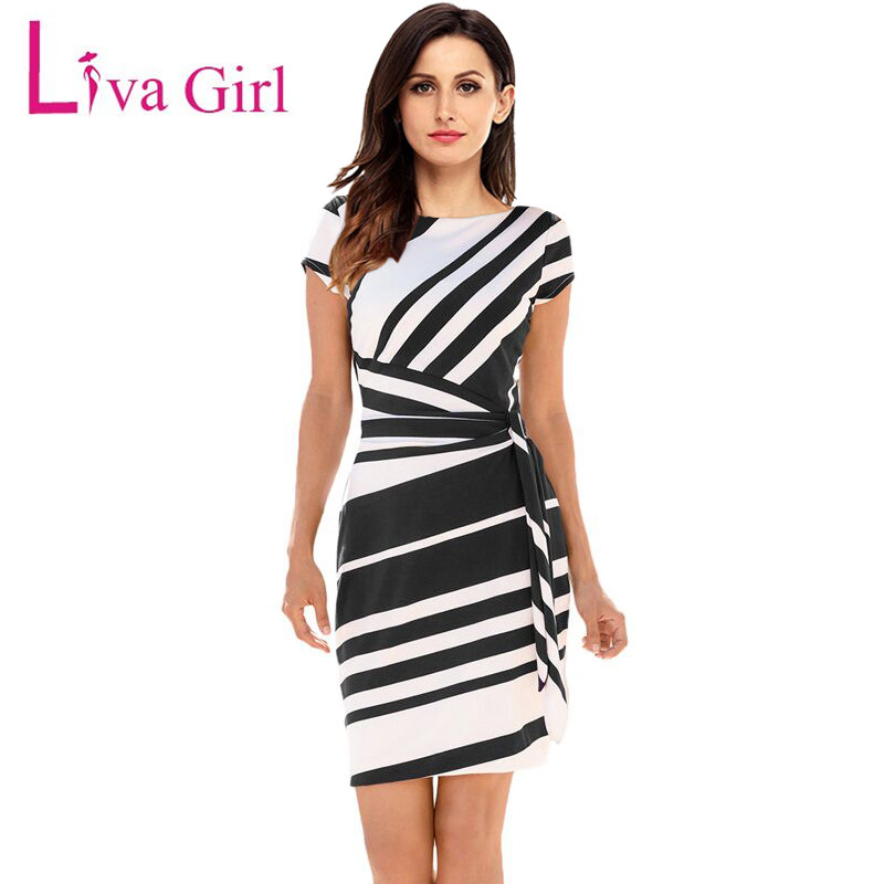 Liva Girl 2019 Spring Casual Pencil Dress Donna Party Red / Black White Abiti a righe con cintura Bow Elegante lavoro ufficio Abiti XL