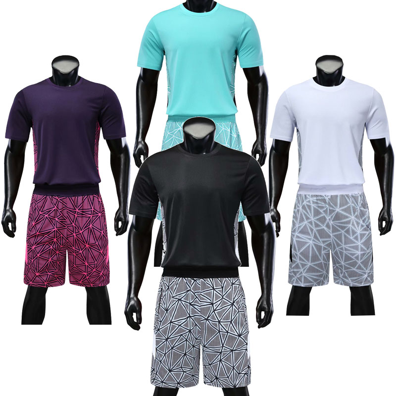 Men's Short Sleeve Basketball Sets Men Breathable Blank Jerseys Shorts Adult Outdoor Running Kits Customize Any Logos