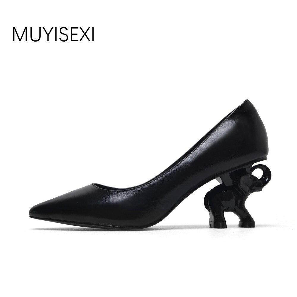 Talon Femmes Chaussures En Cuir Véritable Pleine Éléphant Talon Femmes Chaussures 6 cm Haute Talon Bureau Dames Chaussures Noir Blanc XL02 MUYISEXI