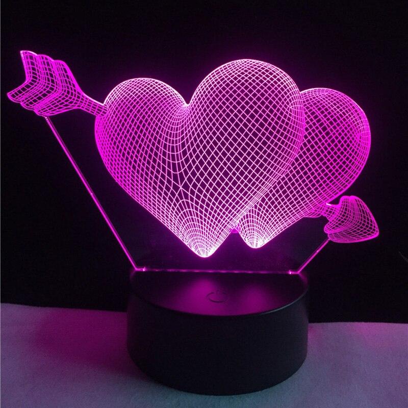 День Святого Валентина подарок 3D светильник светодиодный ночник 7 цветов Осень в любовь настольная лампа Touch Сенсор Luminarias светильники Lamparas ... ...