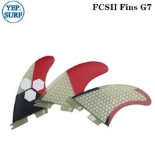 цена на FCS II Tri fin set Fiberglass Honeycomb Surf FCS2 Fins G7 fins