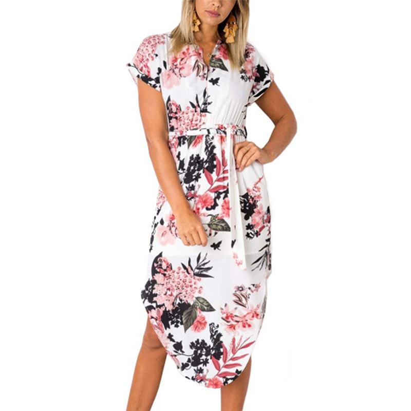 2ca995cb907c6 US $7.46 68% OFF|Summer Dress 2019 Women Boho Style Geometric Print Beach  Dress Elegant Party Dresses with Belt Vestidos de fiesta Plus Size XXXL-in  ...