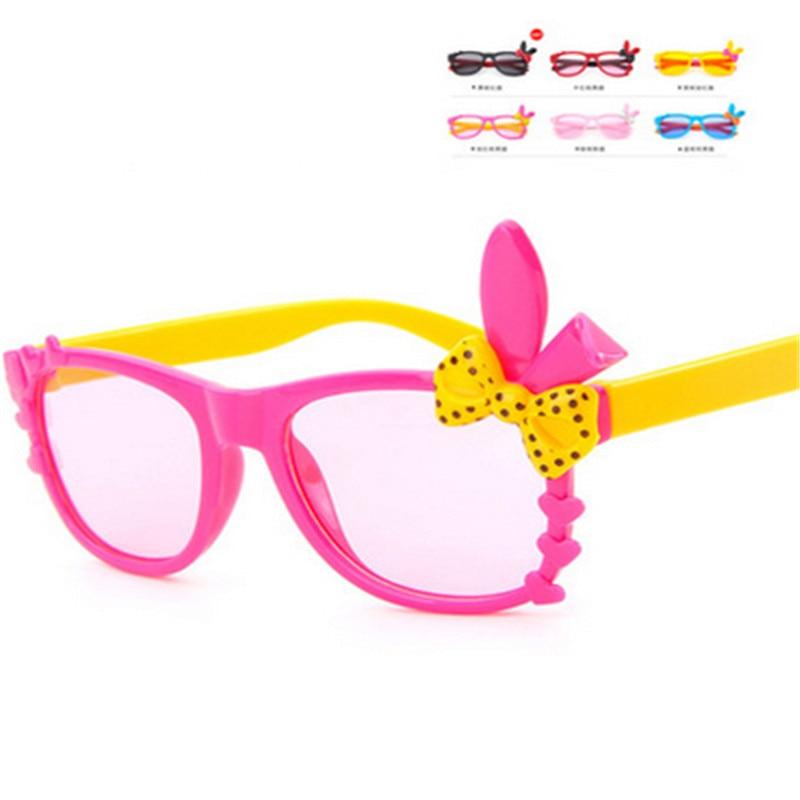 2016 Kids Plastic Frame Sunglasses Children Girls Bownot Cartoon Cat Shades Eyeglasses Oculos De Sol crianca baby children
