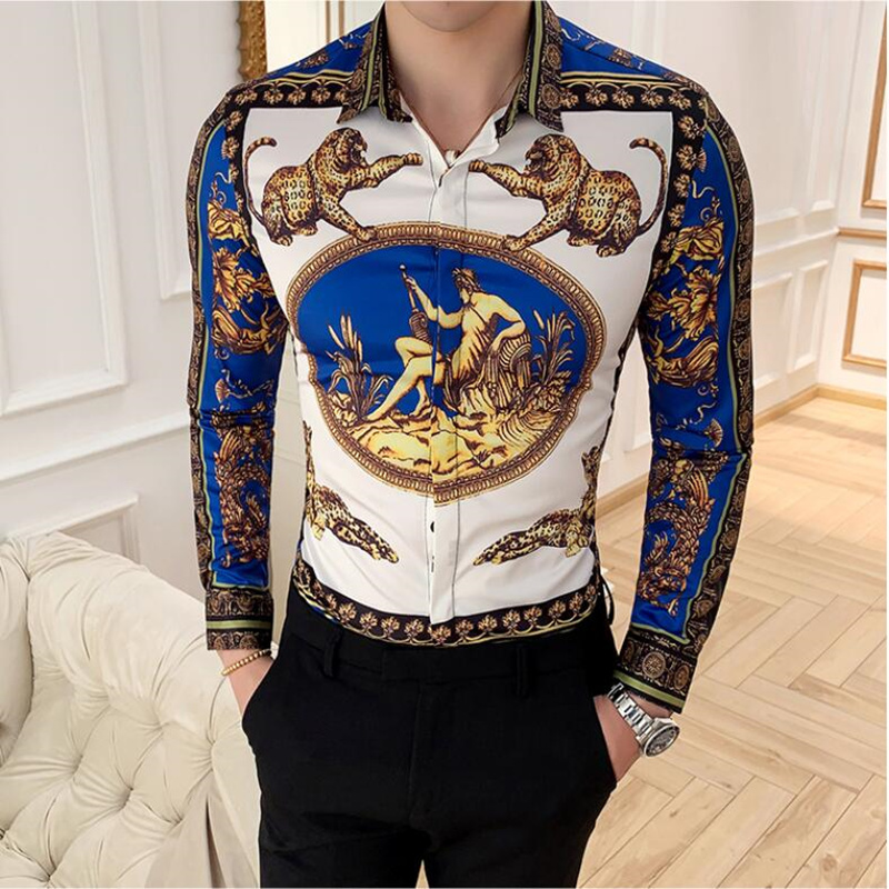 2019 Print Shirts New Baroque Slim Fit Clothing Punk Style Party Club Shirt Men Camisa Male Long Sleeve Shirt Tops S-4XL