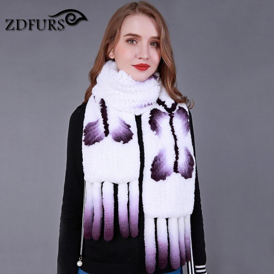 ZDFURS * nouvelle écharpe en tricot de lapin de haute qualité écharpe en fourrure de papillon douce longue écharpe de lapin blanc châle