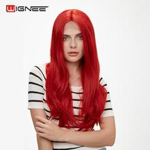 Wignee Red Hair Synthetic Lace Front Wig Middle Part Long Wavy Wig High Density Heat Resistant Cosplay Artificial Hair for Women long middle part wavy colormix synthetic wig