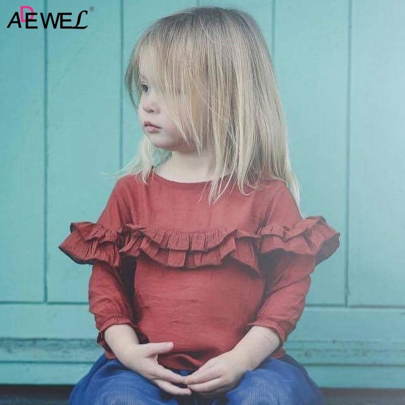 1 2 3 Year Girls Shirts 2019 New Fashion Ruffle Kids T-shirt for Girls Spring Autumn Long Sleeve Chiffon Children Tops Clothing