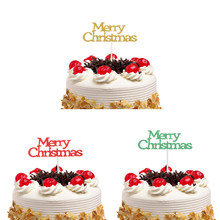 Cake Topper Flags Merry Christmas Gillter Santa Claus Kids Happy Birthday Wedding Baby Shower Party Baking DIY Decor