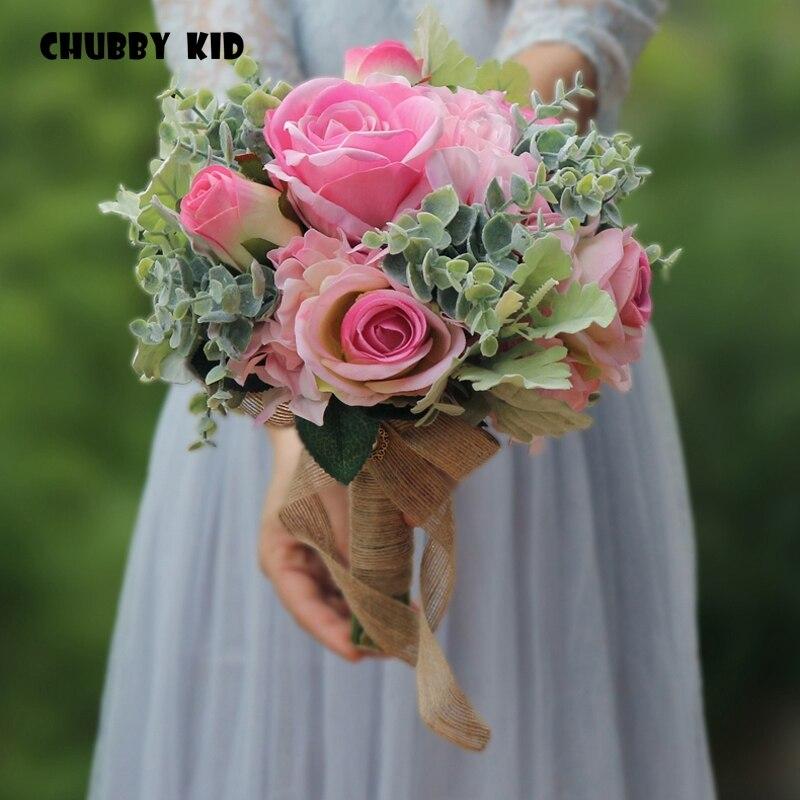 Haute simulation mariage Bouquet fleur artificielle Rose buque casamento nuptiale Bouquet pour décoration de mariage Rose vert 2018 nouveau