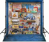 Blau Holzspielzeug Auto foto hintergrund Vinyl tuch Hohe qualität Computer gedruckt Holz Hintergründe