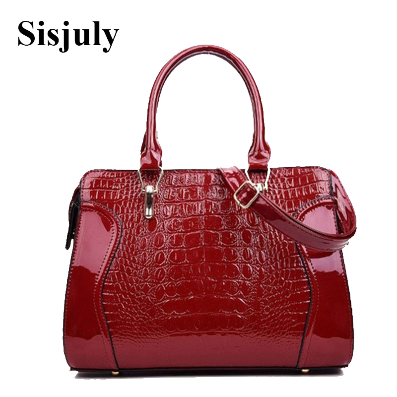 2018 New Fashion Crocodile Pattern Women Messenger Bag Embossed Leather Women Handbag Patent Leather Satchel Female Tote Sac
